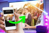 Noch kein Hochzeitsgeschenk? – mit der Selfiewall werden die Partyfotos live vom Handy an den Beamer gesendet