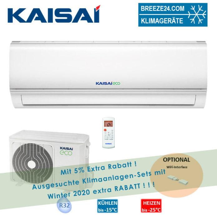 Kaisai Klimaanlage Wandgerät Eco 2,6 kW R32 KEX-09KTAI + KEX-09KTAO Set für 1 Zimmer mit 28 m² Fläche
