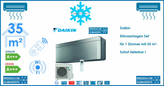 Daikin Klimaanlage Wandgerät Stylish silber 3,5 kW - FTXA35BS + RXA35A R32 für 1 Zimmer mit 35 m²