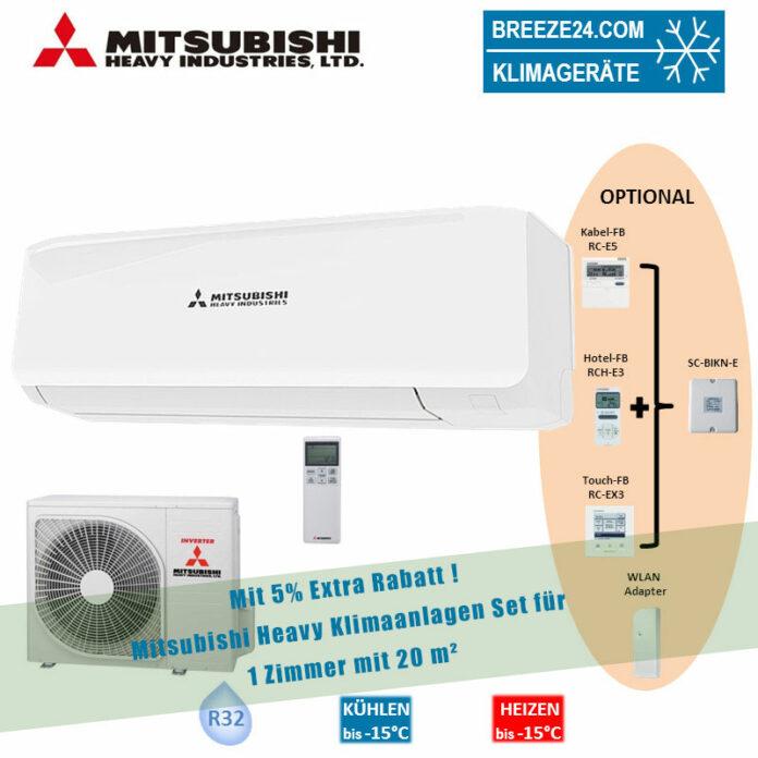 Mitsubishi Heavy Klimaanlage Wandgerät SRK 20 ZS-W + Außengerät SRC 20 ZS-W 2,7 kW Set für 1 Zimmer mit 20 m² Fläche