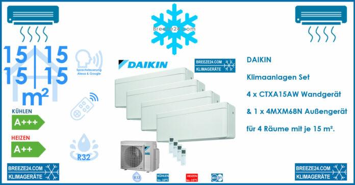Daikin Klimaanlagen Set 4 x Wandgeräte Stylish CTXA15AW + 4MXM68N R32 für 4 Räume mit je 15 m²
