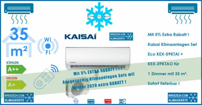 Kaisai Klimaanlagen Set Wandgerät Eco 2,6kW R32 KEX-09KTAI + KEX-09KTAO für 1 Zimmer mit 35 m² Fläche