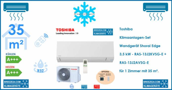 Toshiba Klimaanlage Wandgerät Shorai Edge 3,5 kW - RAS-13J2KVSG-E + RAS-13J2AVSG-E R32 für 1 Zimmer mit 35 m²