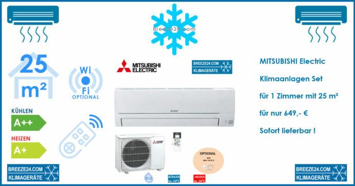 MITSUBISHI ELECTRIC Klimaanlagen Set MSZ-HR25VF Wandgerät + MUZ-HR25VF R32 2,5 KW für 1 Zimmer mit 25 m²
