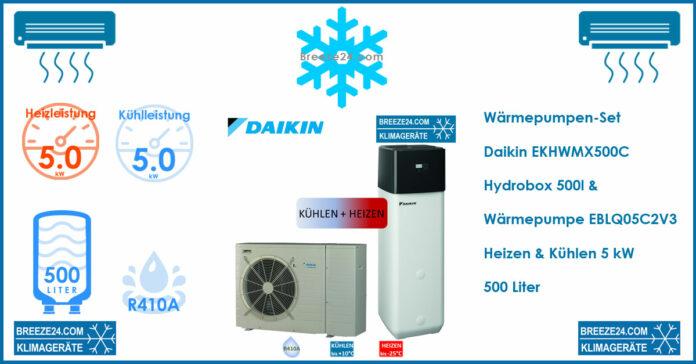 Daikin Wärmepumpen-Set EKHWMX500C Hydrobox 500l + Wärmepumpe EBLQ05C2V3 Heizen & Kühlen | 5.0 kW
