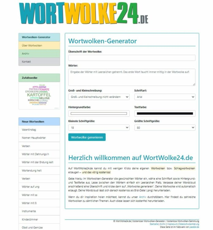 WortWolke24.de - kostenlos Wortwolken erstellen